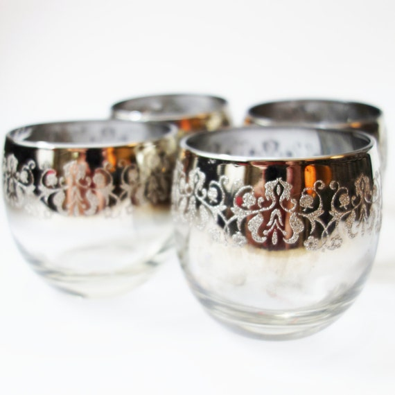 Mid Century Tumbler glasses, Vintage Barware, Mad Men, embossed silver,Ombre glass, Burnout, Gift, 1950s Drink glasses, Round Brandy glasses