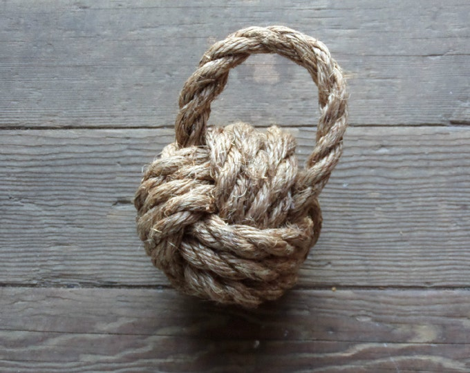Nautical Book End Rope Monkey Fist Hand Knotted Door Stop Beach Decor Nautical Nursery