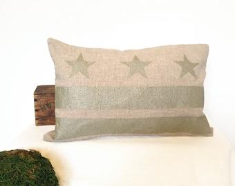 READY TO SHIP: Washington D.C. Flag Pillow Cover - Linen & Champagne Metallic