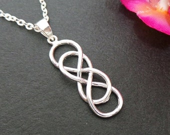Double Infinity Knot Silver Necklace - Meaningful Jewelry for Girlfriend - Celtic Infinity X Infinity Jewelry  - Celtic Knot Symbol