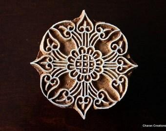 Hand Carved Indian Wood Textile Stamp Block- Art Nouveau Floral Motif