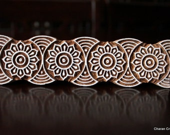 Hand Carved Indian Wood Textile Stamp Block- Floral Border (Reduced)