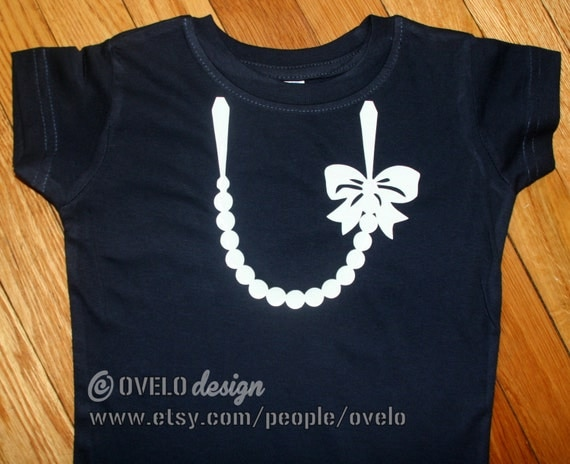 Necklace with Pearls T shirt for Girls Pictured in Navy with White Pearls and Bow