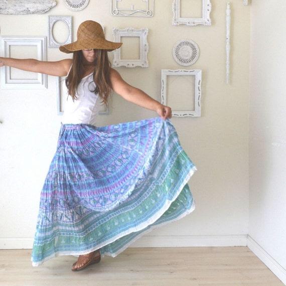 sheer skirt vintage 1960s hippie boho maxi baby blue
