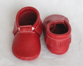 Cherry Red Genuine Real Leather Moccasins, Moccs, Shoes
