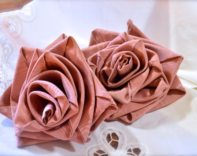 Vintage Decor Roses, Handmade Moire Fabric, Shabby Chic Style, Free Shipping
