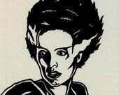 Hand Cut Bride of Frankenstein Paper Cutting Framed 8 X 10