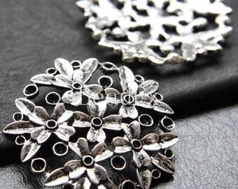 6pcs / Flower / Oxidized Silver Tone / Base Metal / Pendant (ZA13332//K115)
