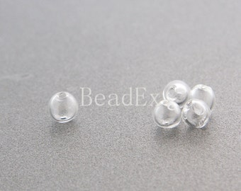 10pcs / Hand Blown / Hollow Glass Beads / Near Round / Clear / 6-9mm (17H7/G87)