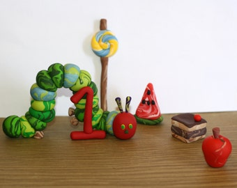 The Very Hungry Caterpillar Small Set - Clay Birthday Cake Topper