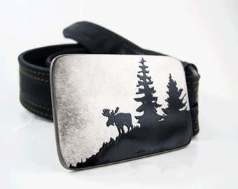 Grazing Moose Belt Buckle - Stainless Steel - Handmade