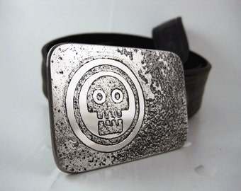 Skull Belt Buckle - Etched Stainless Steel - Handmade