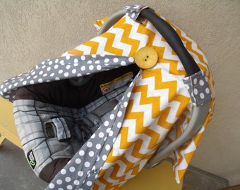 Carseat Canopy Mustard Chevron carseat cover / car seat canopy / car seat cover / infant car seat / nursing cover / car seat accessories