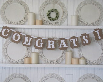 CONGRATS!  Banner, Wedding Sign, Wedding Banner, Anniversary Sign, Graduate, Congratulations Sign, Congrats Banner,