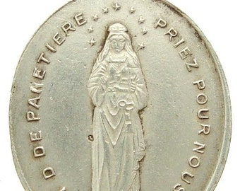 Vintage Notre Dame of Panetiere French SILVER Religious Medal Pendant on 18 inch sterling silver rolo chain