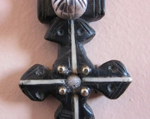 Berber Cross jewelry Pendant with Silver decorations, made of horn, Morrocan Sahara