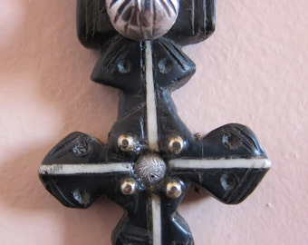 SALE !! Berber Cross jewelry Pendant with Silver decorations, made of horn, Morrocan Sahara