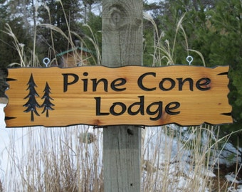 "Personalized Cabin Signs -  Routed Wooden Signs -  Wooden Cabin Signs -  Campsite Signs -  Cedar Signs - 22"" x 6"""