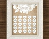 """Burlap and Lace - Wedding Guest Book Signature Art Print - Signature Hearts - Guest Book Art Print -11"""" x 14"""" - Up to 50-60 guests"""