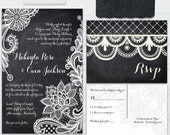 Lace Chalkboard Wedding Invitations, with RSVP postcards and address labels, Custom Wedding Invites, SAMPLE