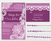 Purple Lace Wedding Invitations - Radiant Orchid - with RSVP cards and address labels - Custom Wedding Invites - InvitingMoments