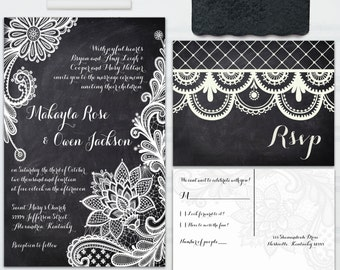 Lace Chalkboard Wedding Invitations - with RSVP postcards and address labels - Custom Wedding Invites