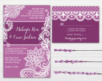 Purple Lace Wedding Invitations - Radiant Orchid - with RSVP cards and address labels - Custom Wedding Invites