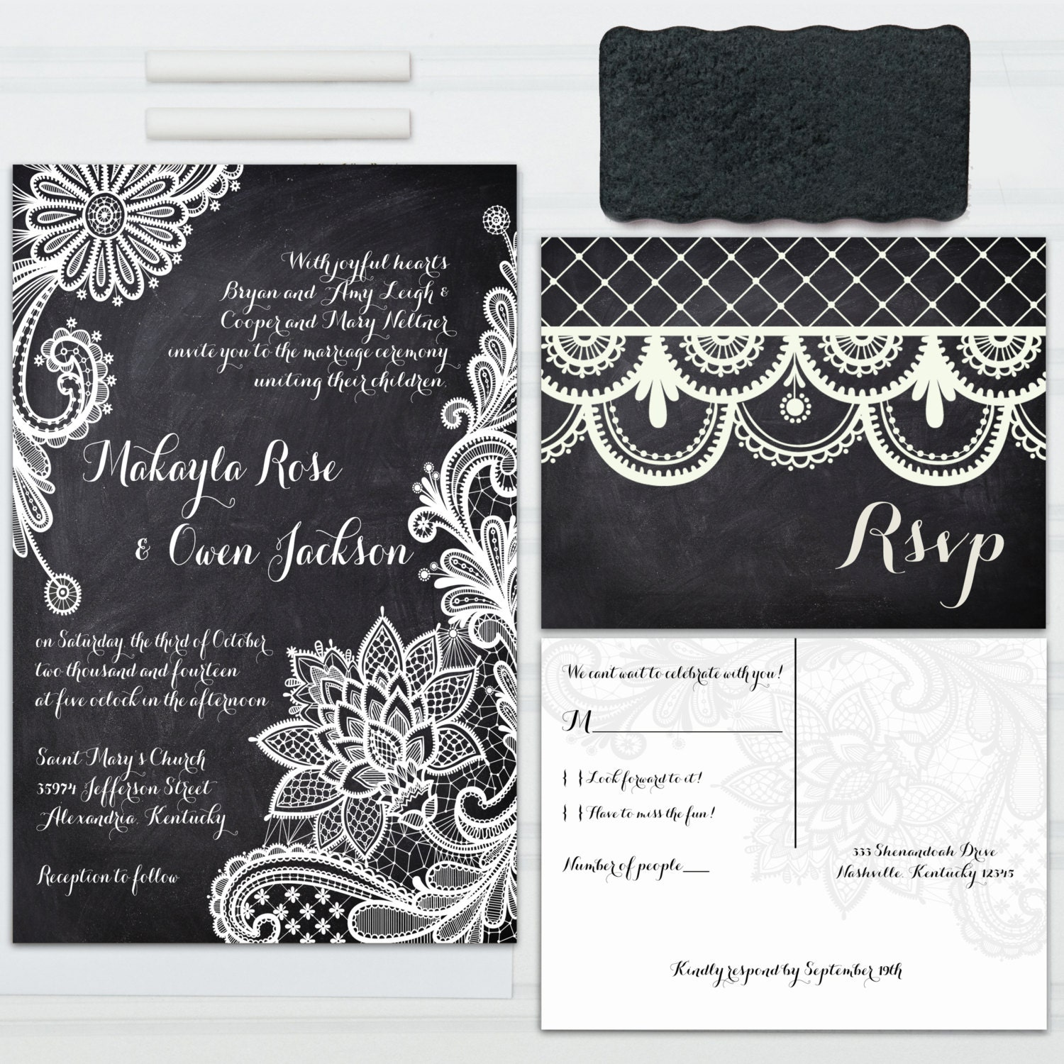 Lace Chalkboard Wedding Invitations With RSVP Postcards And