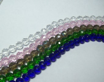 18 faceted round glass beads .... your Choice of Colors or Choose Mixed colors ... 10mm rounds