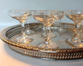 Round Silver Tray -  Large 15 inch Gallery Butler Cocktail