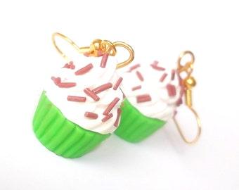 Lime Cupcake Earrings Polymer Clay (  miniature food chocolate sprinkles kids earrings food earrings miniature jewelry kawaii cute food )
