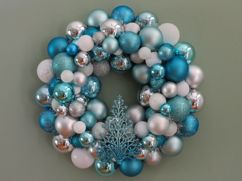 Christmas wreath aqua ornament white blue and silver