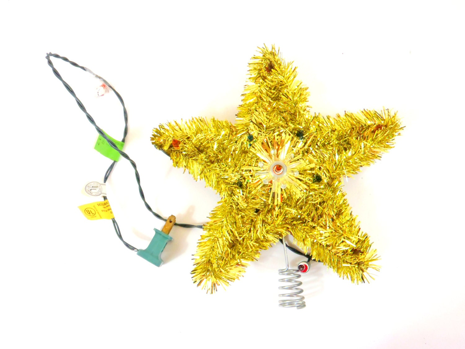 Electric Light Christmas Tree Star Tinsel Topper Christmas