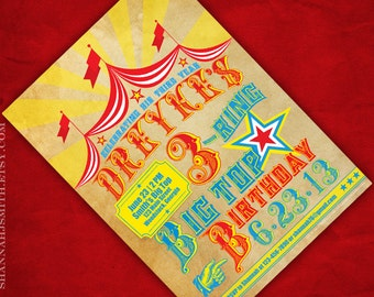 Three Ring Circus Third Birthday Party Big Top Invitation Print Your Own