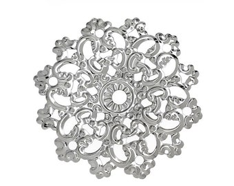 Filigree : 10 Antique Silver Filigree Connectors | Platinum Filigree Stampings 46x45mm ... Lead, Nickel & Cadmium Free 32681.T