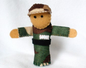 Soldier Felt Finger Puppet,  Army Puppet, Troops Camouflage, 3D Storytelling Prop