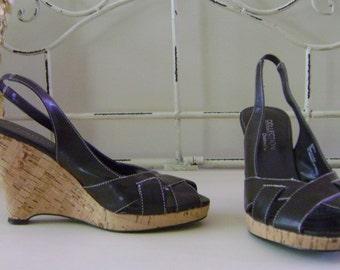 Brown Wedge Slingback Sandals - 6M