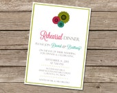 Printable Rehearsal Dinner Floral Invitations (digital file) DIY Printing at home or your choice of printer