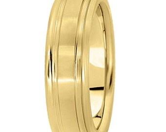 6mm 14k Wedding Band , Yellow Gold Fingerprint engraved ring.  UM301-6Y