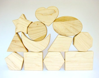 Wooden Blocks Set of 12 Shapes, natural toddler toy