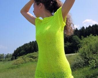 Mirage knit, crochet long tank top vest in neon, fluo yellow