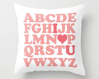 Throw Pillow Cover - English ABC I Love You Wedding Pillow - Pink White - 16x16, 18x18, 20x20 - Nursery Home Décor by Adidit