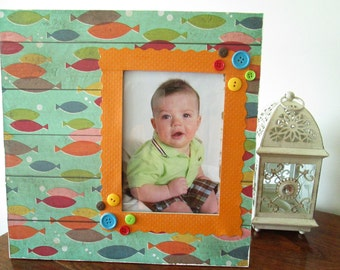 5x7 Fish Themed - Hand Decorated Picture Frame
