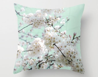 Pillow Cover, Cherry Blossom Pillow, Pink Cherry Blossoms Photography Pillow, Flowering Tree Pillow, Pink Mint Throw Pillow, Nature Pillow