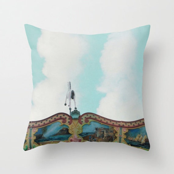Round Throw Pillow Covers : Pillow Cover Carousel Throw Pillow Merry go round Horse
