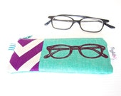 Glasses or Spectacles Cases - Echino Glasses Print with Purple and White Chevron Border (Teal Green)
