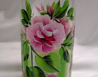 Hand painted rose vase, candleholder, centerpiece, gift