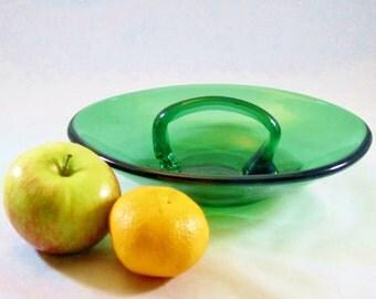 Vintage EMERALD Glass Server Nut Dish Astray Blenko Viking Free Form MODERN