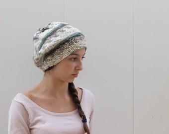 Green Cream Knit Hat,
