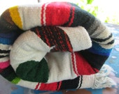 Primitive MEXICAN AZTEC SERAPE Blanket Rug - Vintage- Eagle with Serpent- Beautiful